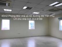 Chủ nhà cho thuê 40m2 VP tại đường đôi Yên Phụ, giá 8,5 triệu/tháng, LH: 098 664 6169