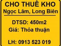 Cho thuê nhà xưởng, kho ở Ngọc Lâm, Long Biên, 0913523019
