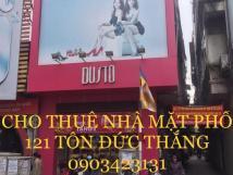 Cho thuê nhà mặt phố, số 121 mặt phố Tôn Đức Thắng, Đống Đa, HN, căn góc 2 mặt tiền